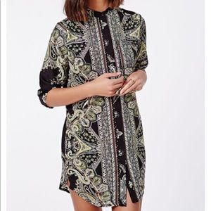 Missguided Dresses - Missguided Paisley Collarless Shirt Dress